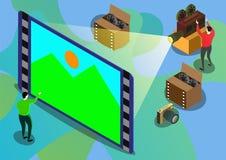 Σύγχρονη επίπεδη isometric απεικόνιση σχεδίου του κινηματογράφου ή του τηλεοπτικού παιχνιδιού απεικόνιση αποθεμάτων