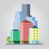 Σύγχρονη επίπεδη απεικόνιση εικονικής παράστασης πόλης σχεδίου Στοκ εικόνες με δικαίωμα ελεύθερης χρήσης