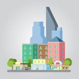 Σύγχρονη επίπεδη απεικόνιση εικονικής παράστασης πόλης σχεδίου Στοκ φωτογραφία με δικαίωμα ελεύθερης χρήσης