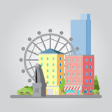 Σύγχρονη επίπεδη απεικόνιση εικονικής παράστασης πόλης σχεδίου Στοκ φωτογραφίες με δικαίωμα ελεύθερης χρήσης