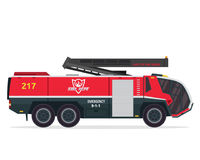 Σύγχρονη επίπεδη απεικόνιση φορτηγών πυροσβεστών Στοκ εικόνα με δικαίωμα ελεύθερης χρήσης