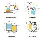 Σύγχρονη επίπεδη λεπτή διανυσματική απεικόνιση σχεδίου γραμμών, σύνολο εννοιών εκπαίδευσης, γνώση, διαδικασία σκέψης, ε-βιβλία κα Στοκ Εικόνα