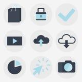 Σύγχρονη επίπεδη συλλογή εικονιδίων, αντικείμενα σχεδίου Ιστού, στοιχεία επιχειρήσεων, χρηματοδότησης, γραφείων και μάρκετινγκ Στοκ Εικόνες
