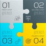 Σύγχρονη επιχείρηση infographic για την παρουσίασή σας Τέσσερα βήματα στην επιτυχία η αλλαγή χρωματίζει τον εύκολο eps8 γρίφο κομ διανυσματική απεικόνιση