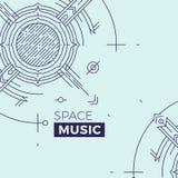 Σύγχρονη λεπτή απεικόνιση κάλυψης μουσικής γραμμών Διαστημικό έμβλημα περιλήψεων Απλό μονο γραμμικό αφηρημένο σχέδιο εμβλημάτων κ Στοκ Εικόνες