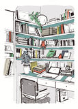 Σύγχρονη εσωτερική εγχώρια βιβλιοθήκη, ράφια, συρμένη ζωηρόχρωμη απεικόνιση σκίτσων εργασιακών χώρων χέρι ελεύθερη απεικόνιση δικαιώματος