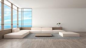 Σύγχρονη εσωτερική καθιστικών ξύλινη πατωμάτων θερινή τρισδιάστατη απόδοση άποψης θάλασσας καναπέδων καθορισμένη διανυσματική απεικόνιση