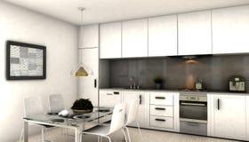 Σύγχρονη εσωτερική κουζίνα Απεικόνιση αποθεμάτων
