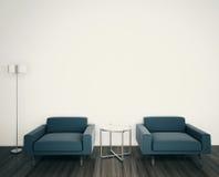 Σύγχρονη εσωτερική τρισδιάστατη απόδοση καναπέδων απεικόνιση αποθεμάτων