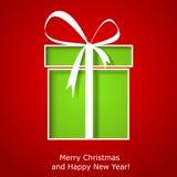 Σύγχρονη ευχετήρια κάρτα Χριστουγέννων με το κιβώτιο δώρων Χριστουγέννων απεικόνιση αποθεμάτων