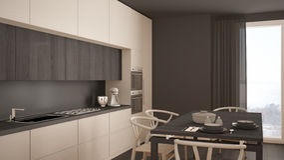 Σύγχρονη ελάχιστη άσπρη κουζίνα με το ξύλινο πάτωμα, κλασικό εσωτερικό Στοκ εικόνα με δικαίωμα ελεύθερης χρήσης