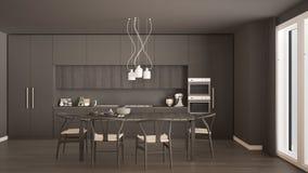 Σύγχρονη ελάχιστη γκρίζα κουζίνα με το ξύλινο πάτωμα, κλασικό εσωτερικό στοκ εικόνες με δικαίωμα ελεύθερης χρήσης