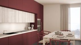 Σύγχρονη ελάχιστη κόκκινη κουζίνα με το ξύλινο πάτωμα, κλασικό εσωτερικό δ στοκ εικόνα