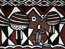 Σύγχρονη ζωγραφική των παραδοσιακών αφρικανικών σχεδίων Στοκ Φωτογραφίες