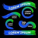 Σύγχρονη ζωηρόχρωμη ροή στο μαύρο υπόβαθρο Πράσινο και σκούρο μπλε χρώμα μορφής κυμάτων υγρό Καθορισμένο δυναμικό σχέδιο στοιχείω ελεύθερη απεικόνιση δικαιώματος