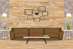 Σύγχρονη διανυσματική απεικόνιση σχεδίου ύφους εσωτερική Καναπές μπροστά από τον ξύλινο τοίχο Δευτερεύοντες πίνακες, πολυέλαιοι,  στοκ φωτογραφία