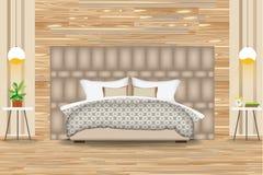 Σύγχρονη διανυσματική απεικόνιση σχεδίου ύφους εσωτερική Κρεβάτι μπροστά από τον τοίχο παρκέ Δευτερεύοντες πίνακες, πολυέλαιοι, έ στοκ εικόνες