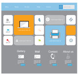 Σύγχρονη διανυσματική εξάρτηση σχεδίου UI επίπεδη στο καθιερώνον τη μόδα χρώμα με το απλό κινητό τηλέφωνο, τα κουμπιά, τις μορφές Στοκ Εικόνες