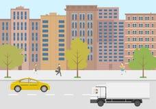 Σύγχρονη διανυσματική ζωή πόλεων απεικόνισης Στοκ Φωτογραφίες