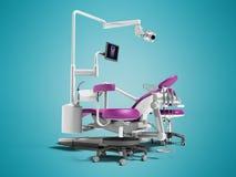 Σύγχρονη ιώδης οδοντική καρέκλα με το βόρακα με το φωτισμό και το όργανο ελέγχου ελεύθερη απεικόνιση δικαιώματος