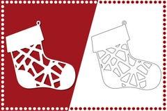 Σύγχρονη κάλτσα Χριστουγέννων Παιχνίδι του νέου έτους για την κοπή λέιζερ επίσης corel σύρετε το διάνυσμα απεικόνισης απεικόνιση αποθεμάτων
