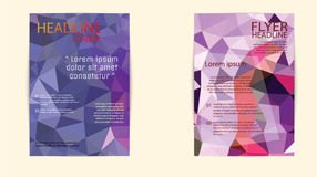 Σύγχρονη κάλυψη φυλλάδιων και χαμηλό πολύγωνο προτύπων επικεφαλίδων geomet Στοκ Φωτογραφία