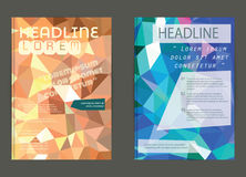 Σύγχρονη κάλυψη φυλλάδιων και χαμηλό πολύγωνο προτύπων επικεφαλίδων geomet Στοκ Εικόνες