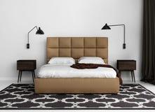 Σύγχρονη κομψή κρεβατοκάμαρα πολυτέλειας με το κρεβάτι δέρματος Στοκ Εικόνες