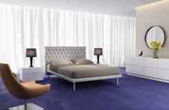 Σύγχρονη κομψή κρεβατοκάμαρα πολυτέλειας Στοκ Εικόνα