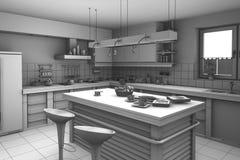 τρισδιάστατη σύγχρονη κουζίνα απόδοσης διανυσματική απεικόνιση