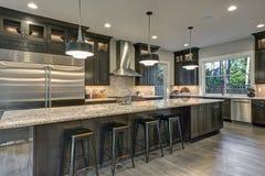 Σύγχρονη κουζίνα με τα καφετιά γραφεία κουζινών στοκ φωτογραφίες