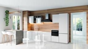 Σύγχρονη κουζίνα με τον ξύλινο τοίχο και το άσπρο μαρμάρινο πάτωμα, minimalistic εσωτερική ιδέα έννοιας σχεδίου, τρισδιάστατη απε στοκ φωτογραφίες
