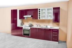 Σύγχρονη κουζίνα, ξύλινα έπιπλα, απλός και καθαρός Στοκ Εικόνα