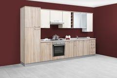 Σύγχρονη κουζίνα, ξύλινα έπιπλα, απλός και καθαρός Στοκ εικόνα με δικαίωμα ελεύθερης χρήσης