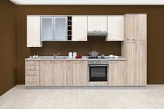 Σύγχρονη κουζίνα, ξύλινα έπιπλα, απλός και καθαρός Στοκ Εικόνες