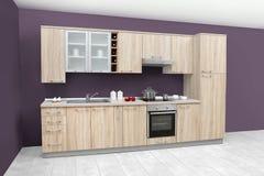 Σύγχρονη κουζίνα, ξύλινα έπιπλα, απλός και καθαρός Στοκ Φωτογραφίες