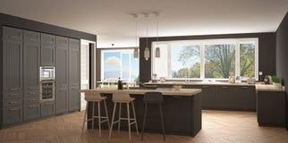Σύγχρονη κουζίνα Σκανδιναβίας με τα μεγάλα παράθυρα, κλασικό wh πανοράματος Στοκ εικόνες με δικαίωμα ελεύθερης χρήσης