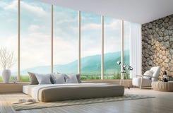 Σύγχρονη κρεβατοκάμαρα με την τρισδιάστατη δίνοντας εικόνα θέας βουνού διανυσματική απεικόνιση
