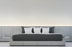 Σύγχρονη κρεβατοκάμαρα με τη γραπτή τρισδιάστατη δίνοντας εικόνα ελεύθερη απεικόνιση δικαιώματος