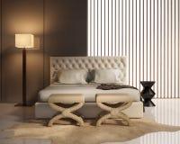 Σύγχρονη κρεβατοκάμαρα πολυτέλειας με το κρεβάτι δέρματος Στοκ φωτογραφίες με δικαίωμα ελεύθερης χρήσης