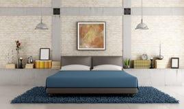 Σύγχρονη κρεβατοκάμαρα σε μια σοφίτα Στοκ Εικόνες