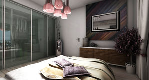 Σύγχρονη κρεβατοκάμαρα Στοκ Φωτογραφίες