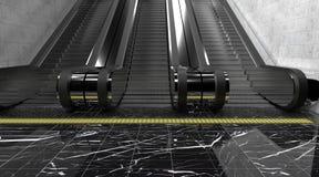 Σύγχρονη κυλιόμενη σκάλα υπογείων Μαρμάρινο σκοτεινό πάτωμα, ελεύθερη απεικόνιση δικαιώματος