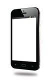 Σύγχρονη μαύρη έξυπνη τηλεφωνική άσπρη οθόνη Στοκ Φωτογραφία