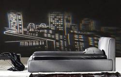Σύγχρονη μαύρη κρεβατοκάμαρα στοκ φωτογραφία