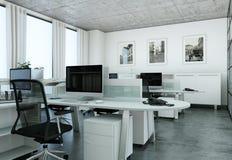 Σύγχρονη μεγάλη τρισδιάστατη απόδοση σχεδίου γραφείων εσωτερική Στοκ Εικόνες