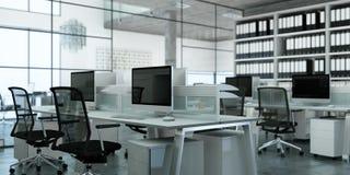 Σύγχρονη μεγάλη τρισδιάστατη απόδοση σχεδίου γραφείων εσωτερική Στοκ Φωτογραφία