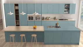 Σύγχρονη μινιμαλιστική μπλε και ξύλινη κουζίνα με το νησί και το μεγάλο πανοραμικό παράθυρο, παρκέ, λαμπτήρες κρεμαστών κοσμημάτω ελεύθερη απεικόνιση δικαιώματος