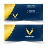 Σύγχρονη μπλε και χρυσή κάρτα ονόματος απεικόνιση αποθεμάτων