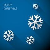 Σύγχρονη μπλε κάρτα Χριστουγέννων με το επίπεδο σχέδιο Στοκ Εικόνες